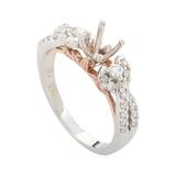Bridal 14K White & Rose Gold Diamond Mounting Ring RE4-10114TT