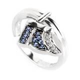 Rings 18K White Gold Diamond & Sapphire Little Wing Ring