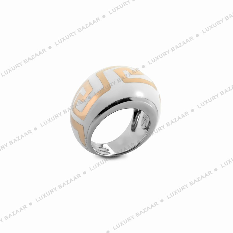 White Ring with Gold Greco Motif
