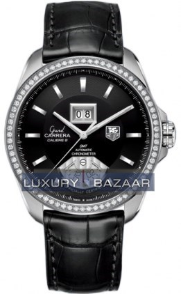 Grand Carrera Automatic GMT Grand Date (SS - Diamonds / Black / Leather )