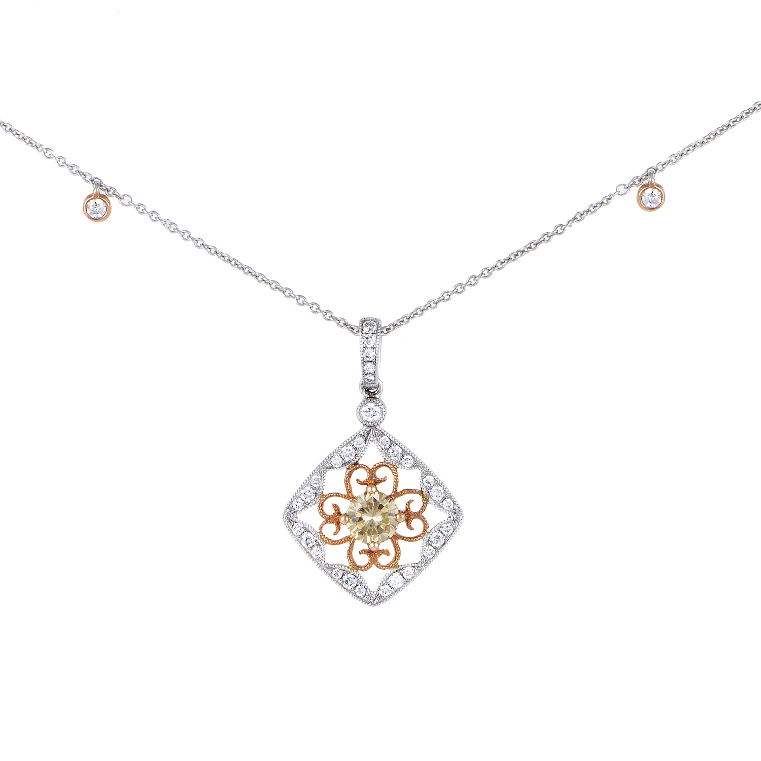 Women's 18K Multi-Tone Gold Floral Diamond Pendant Necklace KEDF8942NUBZ/RZ