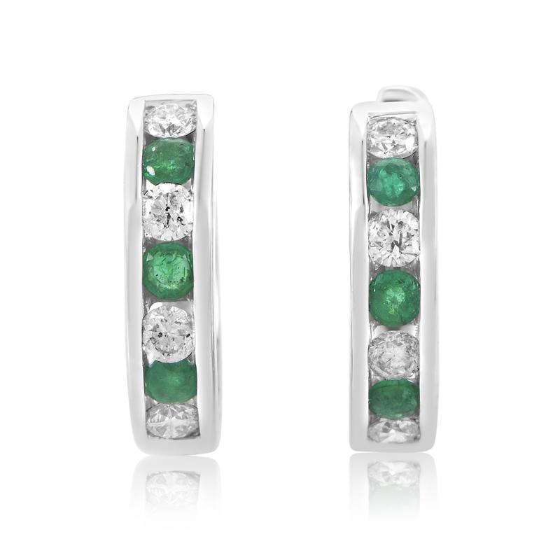 18K White Gold Diamond & Emerald Earrings SEME69ESBZEM