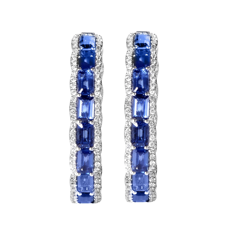 18K White Gold Sapphire & Diamond Hoop Earrings SESB1183ETBZSA
